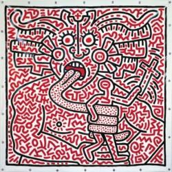Poster Haring Art 02 cm 70x70 Papiarte stampa da falso d'autore