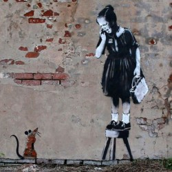 Tela Banksy Art 01 cm 35x35 Papiarte Stampa su tela Canvas da falso d'autore