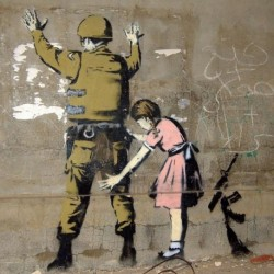 Tela Banksy Art 03 cm 35x35 Papiarte Stampa su tela Canvas da falso d'autore