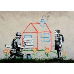 Tela Banksy Art 04 cm 70x100 Papiarte Stampa su tela Canvas da falso d'autore
