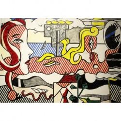 Tela Lichtenstein Art 03 cm 70x100 Papiarte Stampa su tela Canvas da falso d'autore
